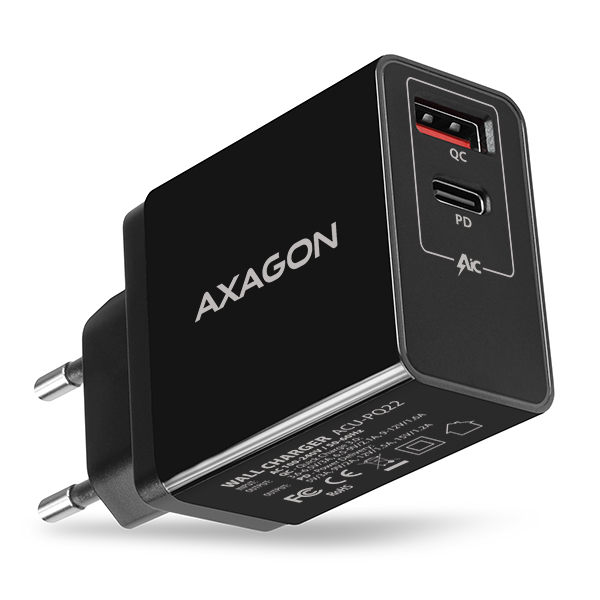 ACU-PQ22 QC3.0 + USB-C PD wall charger